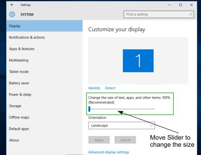 Resize icons Size in Windows 10