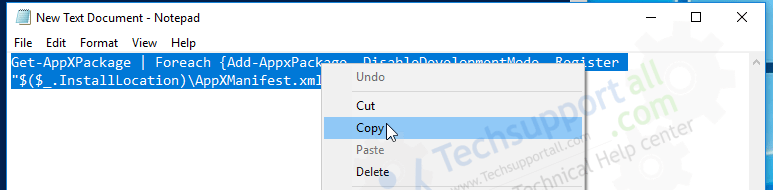 copy the command